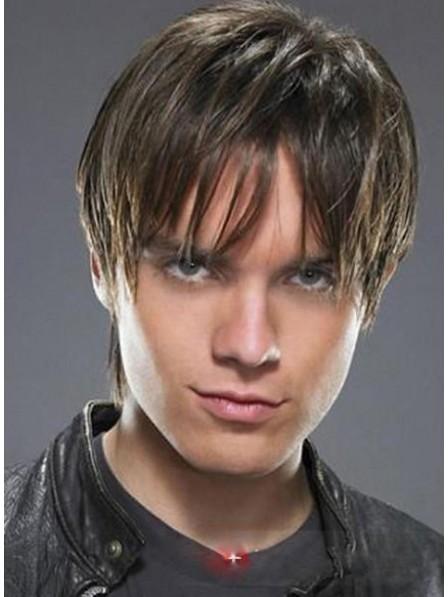100% Human Hair Short Capless Mens Wig With Bangs Natural Look