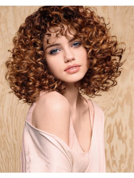 New Design Mid-Length Curly Synthetic Hair Wig Hot Sale