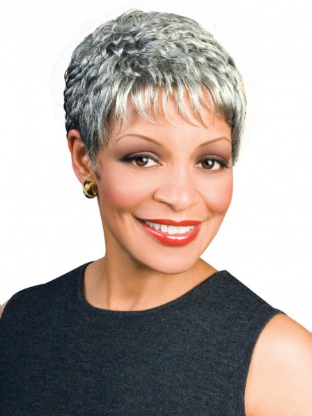 Old Women's Capless Grey Hair Wigs with Bangs