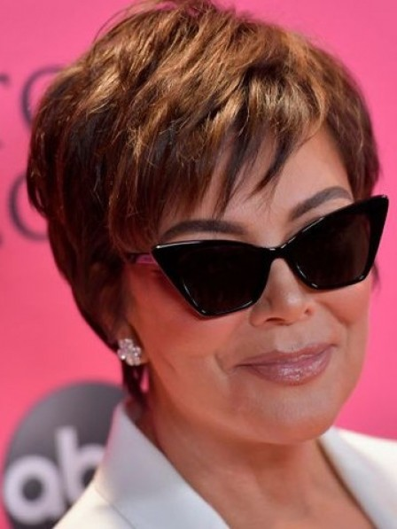 Popular Kris Jenner Short Celebrity Wigs With Bangs For Ladies Over 40