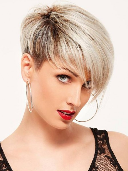 Popular Straight Lace Front Synthetic Celebrity Short Wigs
