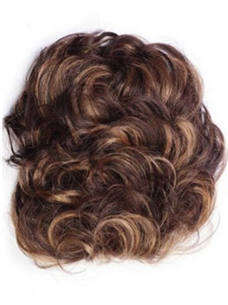 """4"""" Curly Brown 100% Human Hair Hair Pieces for Ladies"""