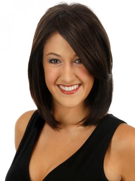 "12"" Straight Black 100% Human Hair Mono Hair Toppers"