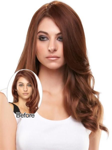 Easy Wear Wavy Auburn 100% Human Hair Mono Top Hair Piece