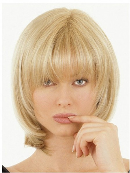 "10"" Straight Heywigs Blonde 100% Human Hair Mono Hair Pieces"