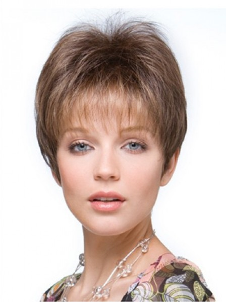 """4"""" Straight Brown 100% Human Hair Mono Hair Topper"""