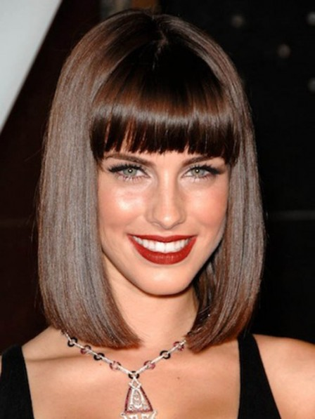 Pretty Lace Front Indian Remy Human Hair Bob Wigs With Bangs