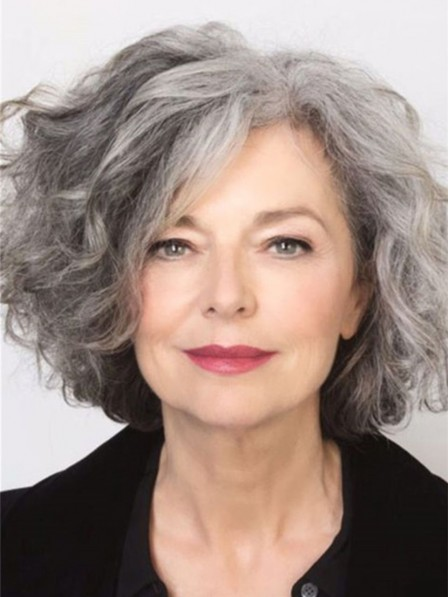 Salt and Pepper Hair Medium Length Wave Synthetic Grey Wig