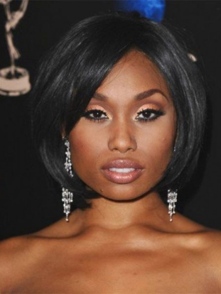 New Chin Length Bob African American Wig For Round Faces