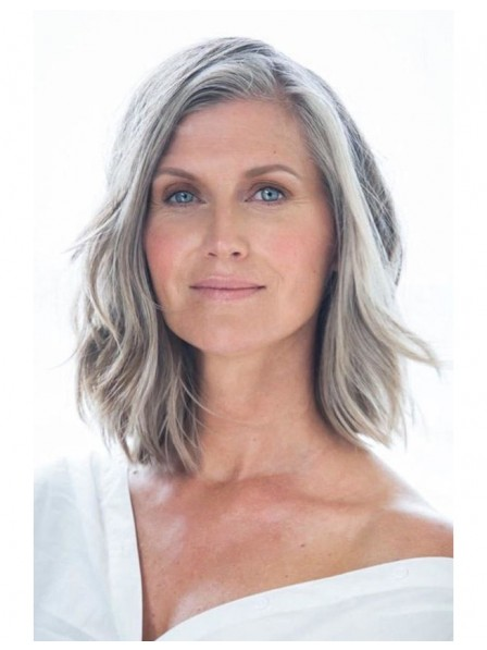 Shoulder Length Lace Front Mono Top Grey Hair Wig