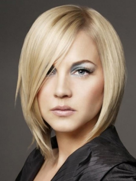 Smooth Lace Front Straight Real Hair Blonde Bob Wigs