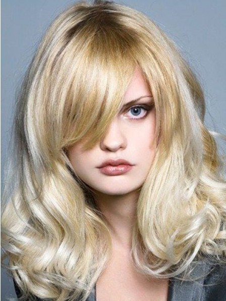Wavy Monofilament Remy Human Hair Celebrity Wigs 100% Hand-Tied
