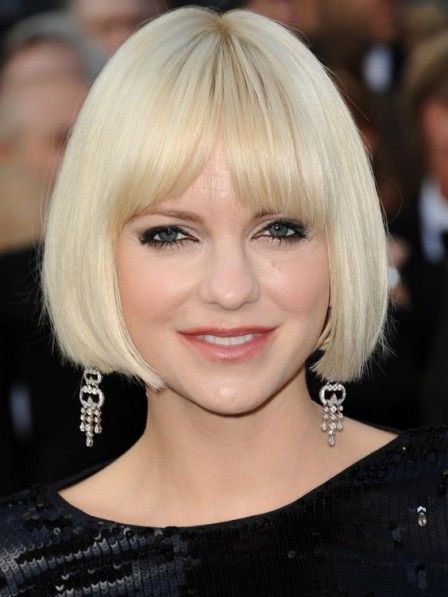 Women's Lace Front Chin Length Straight Bob Wigs With Bangs