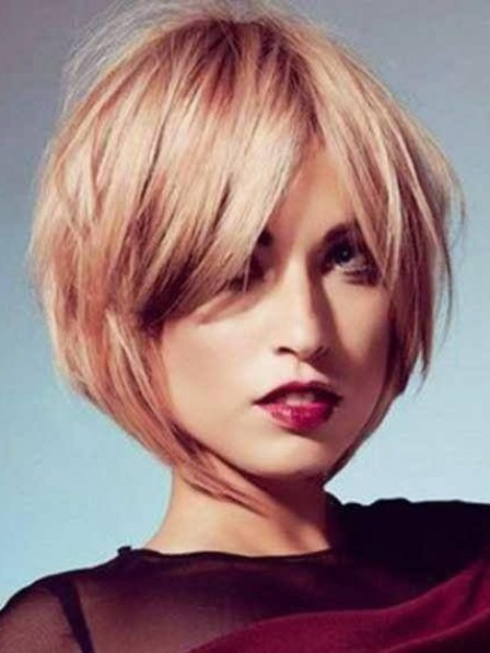 Women's Lace Front Synthetic Celebrity Bob Wigs With Bangs