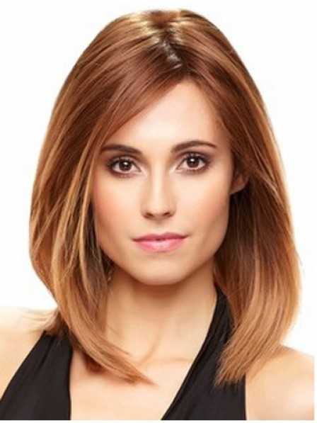 Shoulder Length Red Straight Lace Front Human Hair Wig Mono Top