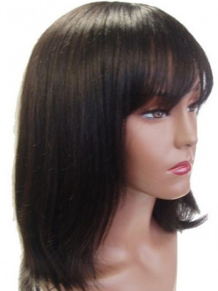 High Quality 100% Human Hair Capless Straight With Full Bangs