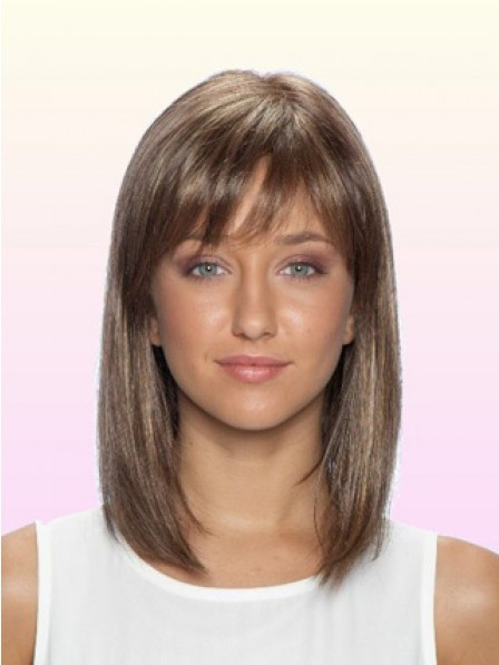 Smooth Shoulder Length Straight Lace Front Human Hair Wig With Bangs