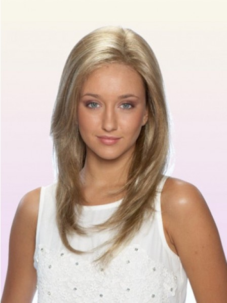 Layered 100% Hand-tied Lace Front Long Straight Women Blonde Wig