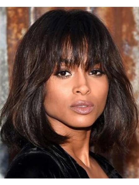 Shoulder Length Capless Straight Human Hair Wig For Black Women