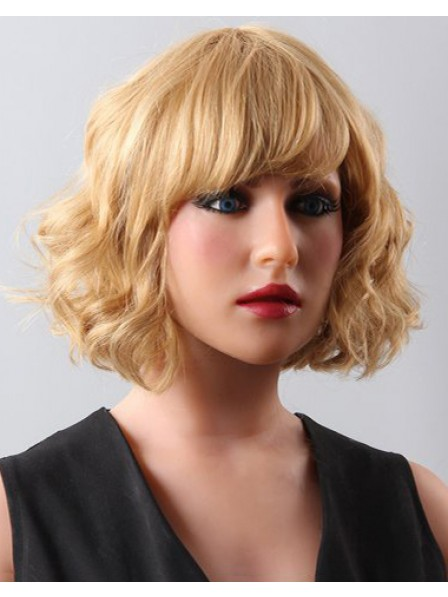 Hot Sale Chin Length Curly Blonde Human Hair Wig for Women