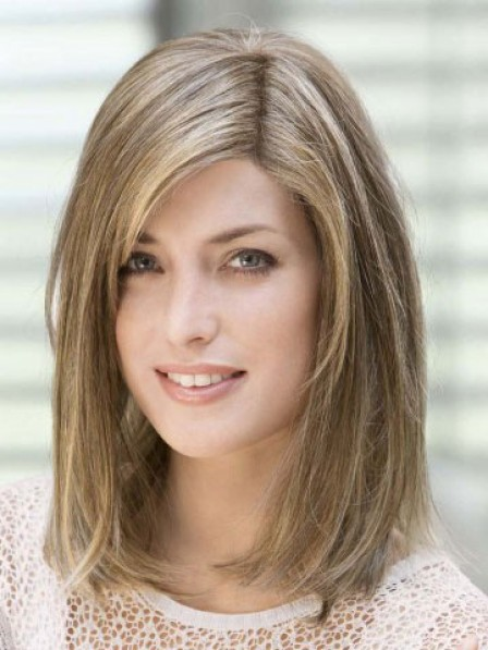 Blonde 100% Hand-tied Shoulder Length Straight Lace Front Wigs Mono Top
