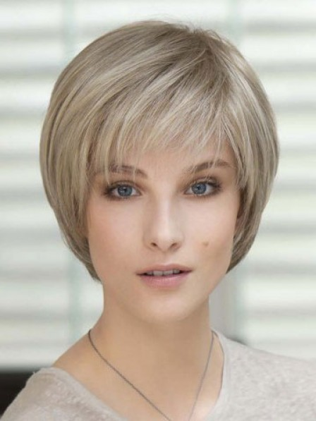New Cropped Straight Human Hair Lace Front Mono Top Natural Wigs
