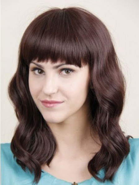 Elegant Long Wavy Human Hair Lace Front Women Wig Fast Ship