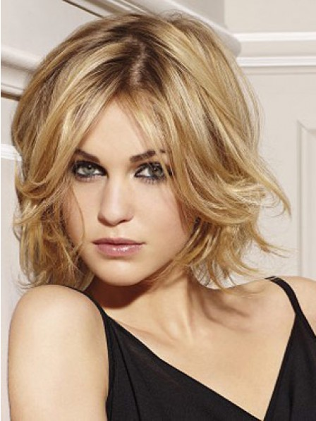 New Arrival Human Hair Short Wavy Lace Front Women Wig Fast Ship