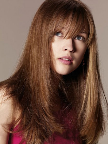 Elegant Naturla Look Long Straight Capless Human Hair Wig With Bangs