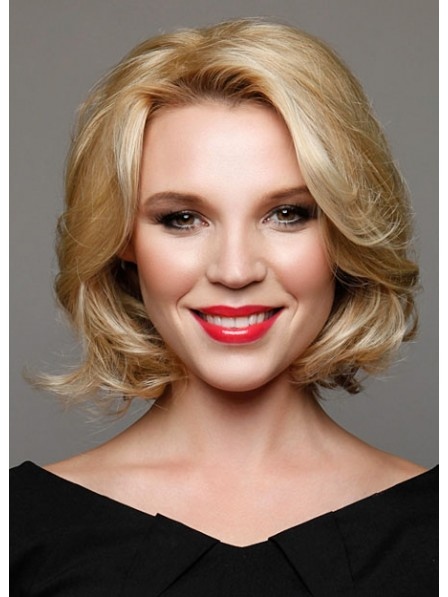 Cute Chin Length Blonde Wavy Lace Front 100% Human Hair Wig