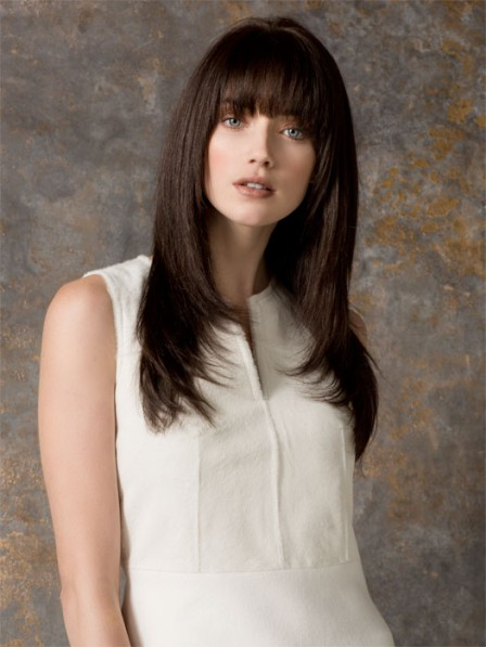 Long Straight Layered Capless Human Hair Wigs for Women