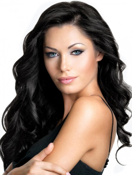 High Quality Classic 100% Human Hair Long Wavy Hair Wigs Lace Front