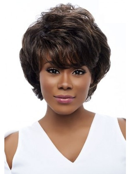 New Design Short Wavy Ladies African American Wig With Bangs