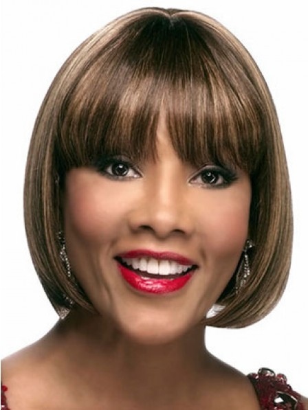 Amazing Chin Length Bob Straight Synthetic Wig With Full Bangs