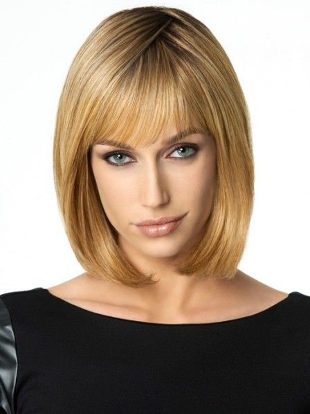New Bob Style Synthetic Capless Bob Hair Blonde Wig With Bangs