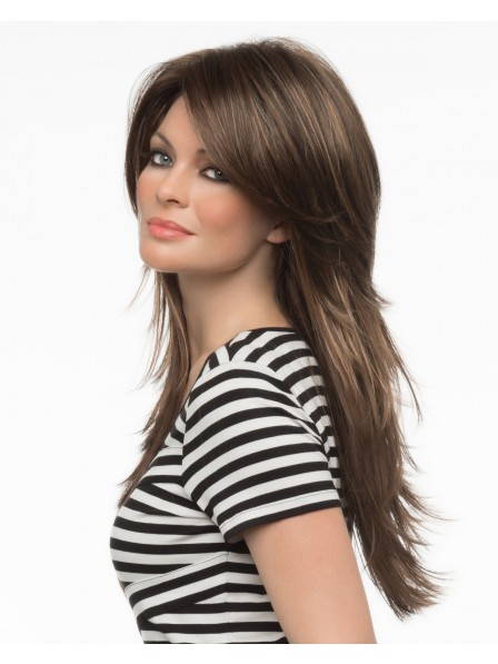 Pretty Long Layered Lace Front Human Hair Wig With Side Bangs