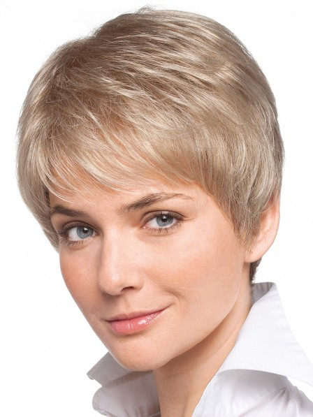 Ladies Cropped Straight Human Hair Wig for White Women