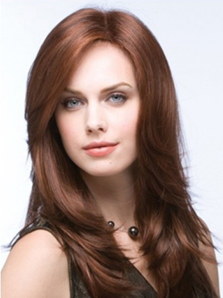 Long Layered Lace Front Straight Synthetic Hair Wig Mono Top