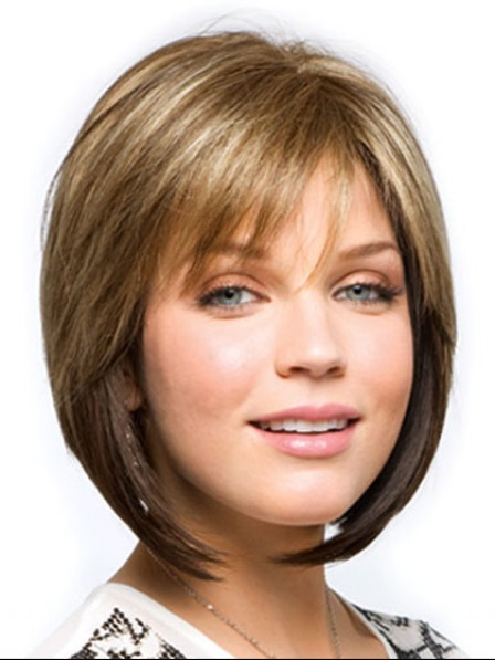 Classic Natural Looking Straight Capless Bob Wigs With Bangs