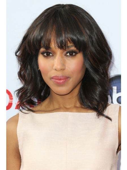Discounted Medium Wavy Cut Celebrity Synthetic Wig With Bangs