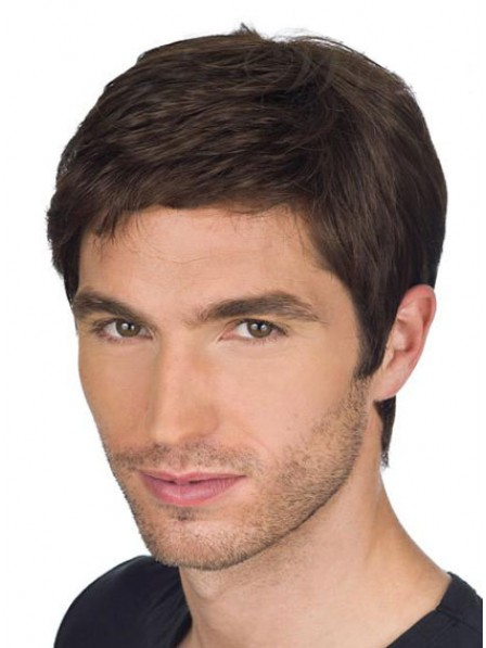 Mens Lace Front Mono Top Straight Human Hair Wigs