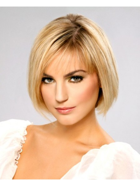 Best Chin Length Bob Straight With Bangs Lace Front Women Wig