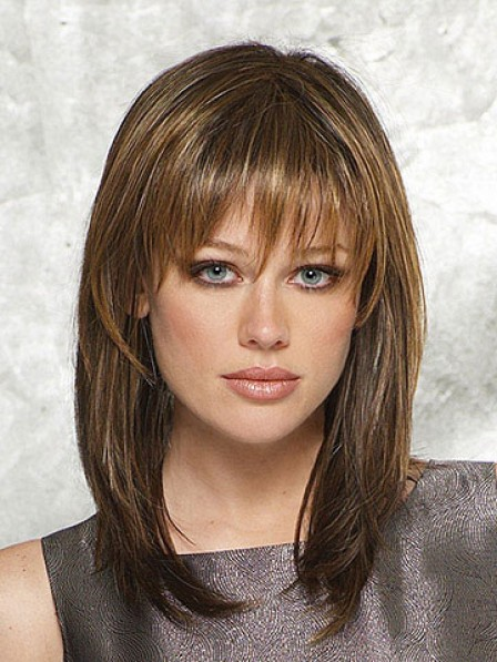 Best Synthetic Shoulder Length Wig With Bangs Lower Price