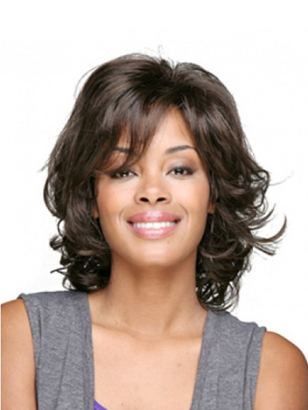 Cheap Wavy Medium Capless Synthetic Wigs With Bangs for Black Women
