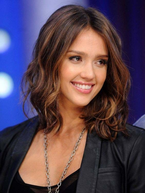 Jessica Alba Light Brown Middle Part Lace Front Synthetic